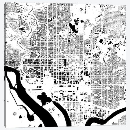 Washington D.C. Urban Map (White) Canvas Print #ESV428} by Urbanmap Canvas Art Print