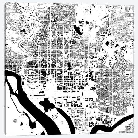 Washington D.C. Urban Map (White) Canvas Print #ESV428} by Urbanmap Canvas Art Print