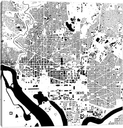 Washington D.C. Urban Map (White) Canvas Art Print