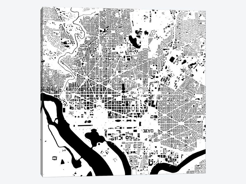 Washington D C Urban Map White Canvas Wall Art By Urbanmap Icanvas