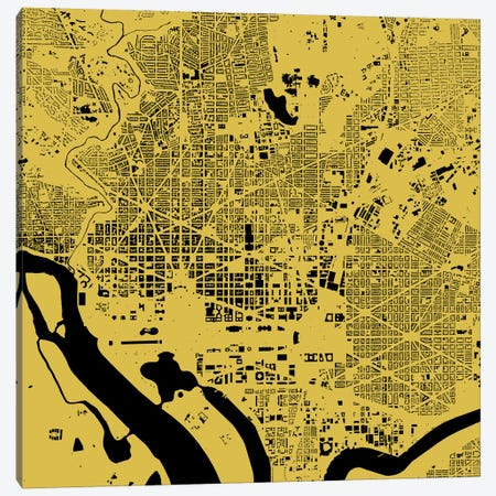 Washington D.C. Urban Map (Yellow) Canvas Print #ESV429} by Urbanmap Canvas Art Print