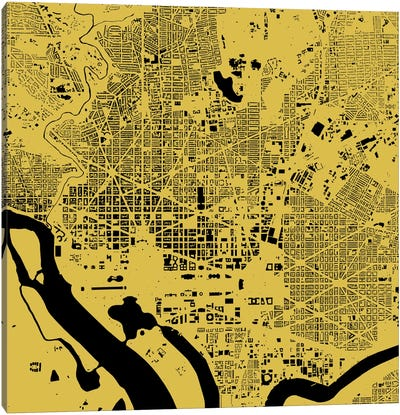 Washington D.C. Urban Map (Yellow) Canvas Art Print