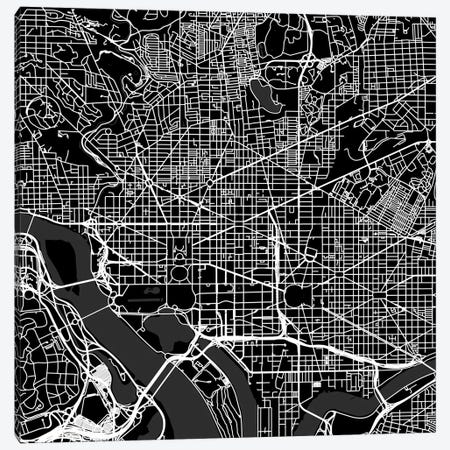 Washington D.C. Urban Roadway Map (Black) Canvas Print #ESV430} by Urbanmap Canvas Wall Art