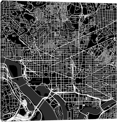 Washington D.C. Urban Roadway Map (Black) Canvas Art Print