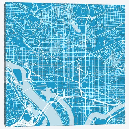 Washington D.C. Urban Roadway Map (Blue) Canvas Print #ESV431} by Urbanmap Canvas Artwork