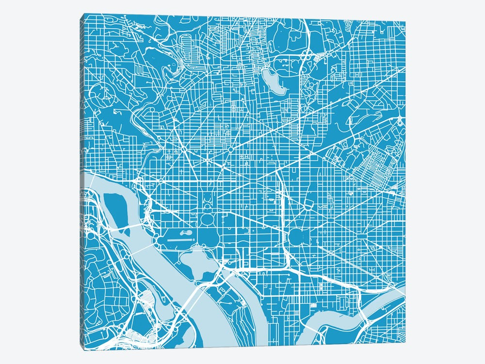 Washington D.C. Urban Roadway Map (Blue) by Urbanmap 1-piece Canvas Art