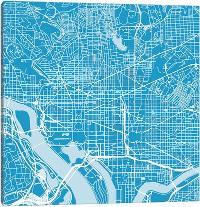 Washington D.C. Urban Roadway Map (Blue) Canvas Art Print