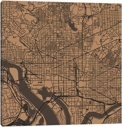 Washington D.C. Urban Roadway Map (Gold) Canvas Art Print