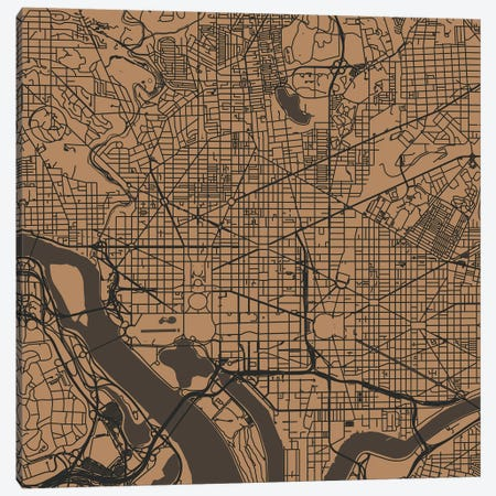 Washington D.C. Urban Roadway Map (Gold) Canvas Print #ESV432} by Urbanmap Canvas Artwork