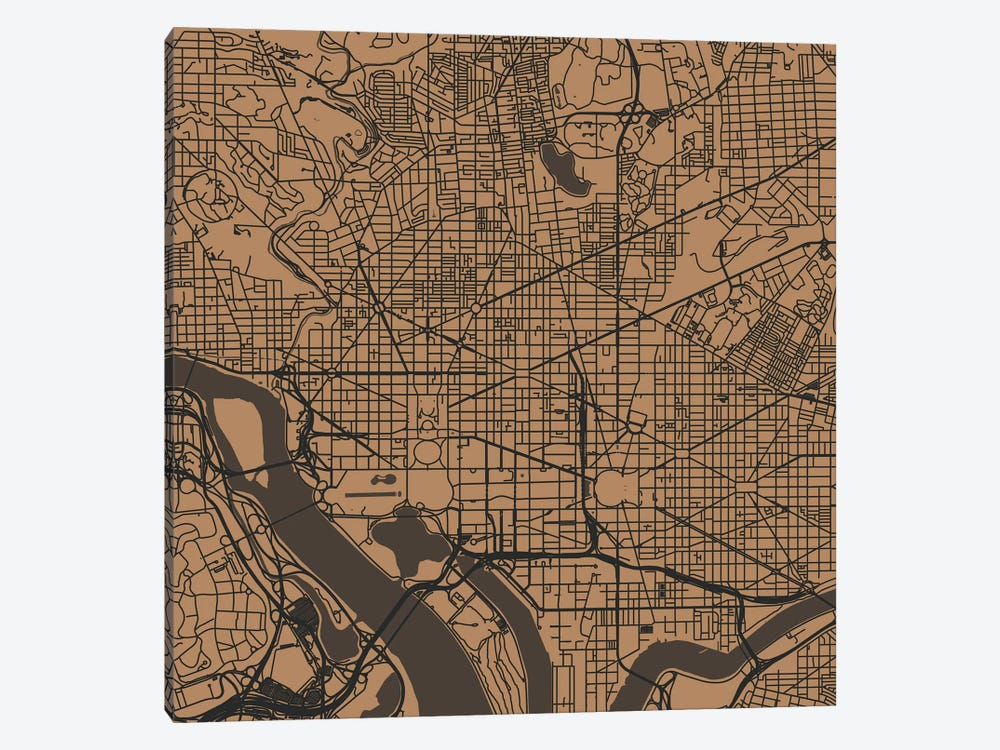 Washington D.C. Urban Roadway Map (Gold) by Urbanmap 1-piece Canvas Art Print