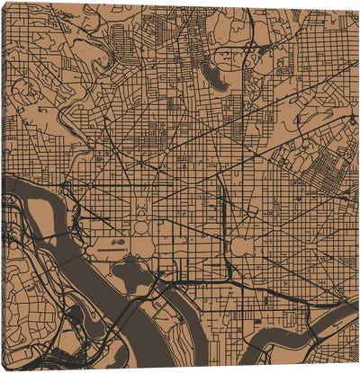 Washington D.C. Urban Roadway Map (Gold) Canvas Art Print
