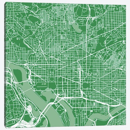 Washington D.C. Urban Roadway Map (Green) Canvas Print #ESV433} by Urbanmap Canvas Artwork