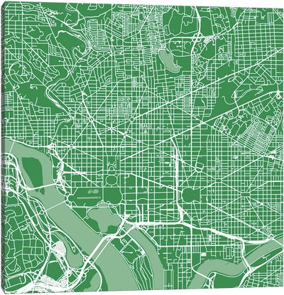 Washington D.C. Urban Roadway Map (Green) Canvas Art Print