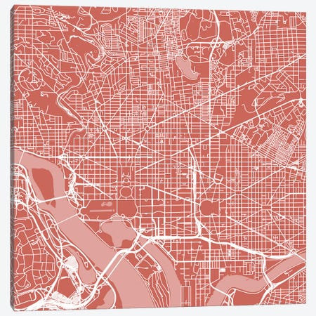 Washington D.C. Urban Roadway Map (Pink) Canvas Print #ESV434} by Urbanmap Canvas Print
