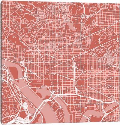 Washington D.C. Urban Roadway Map (Pink) Canvas Print #ESV434