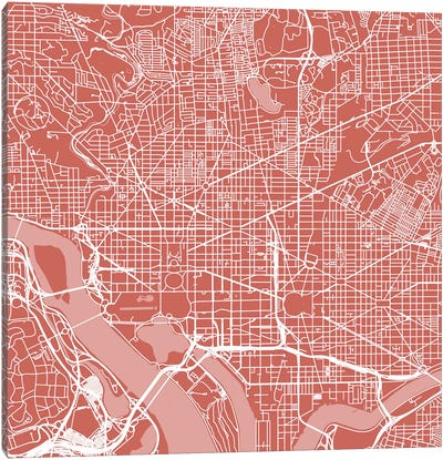 Washington D.C. Urban Roadway Map (Pink) Canvas Art Print