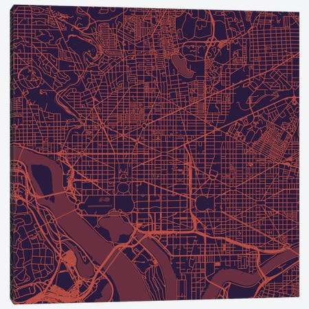 Washington D.C. Urban Roadway Map (Purple Night) Canvas Print #ESV435} by Urbanmap Canvas Art Print
