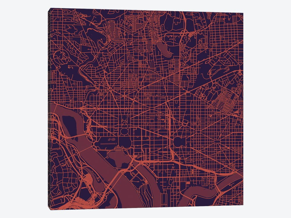 Washington D.C. Urban Roadway Map (Purple Night) by Urbanmap 1-piece Canvas Art