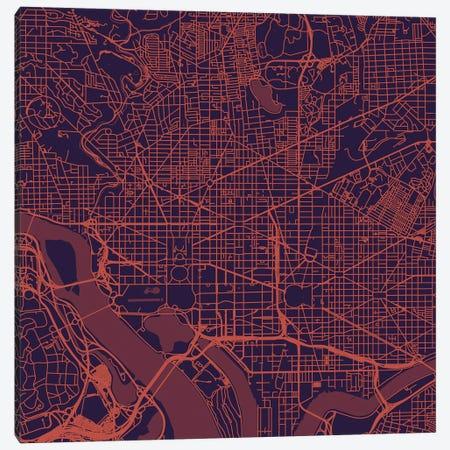 Washington D.C. Urban Roadway Map (Purple Night) Canvas Print #ESV435} by Urbanmap Canvas Art Print