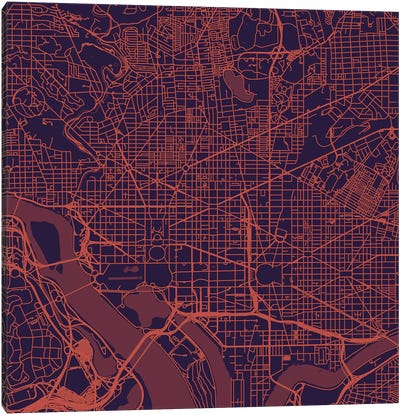 Washington D.C. Urban Roadway Map (Purple Night) Canvas Art Print