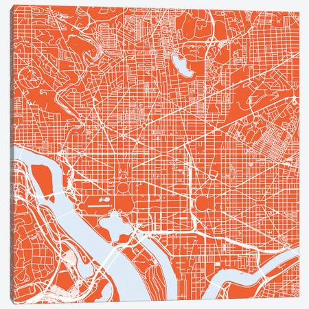 Washington D.C. Urban Roadway Map (Red) Canvas Print #ESV436} by Urbanmap Art Print