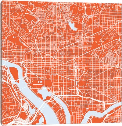 Washington D.C. Urban Roadway Map (Red) Canvas Art Print