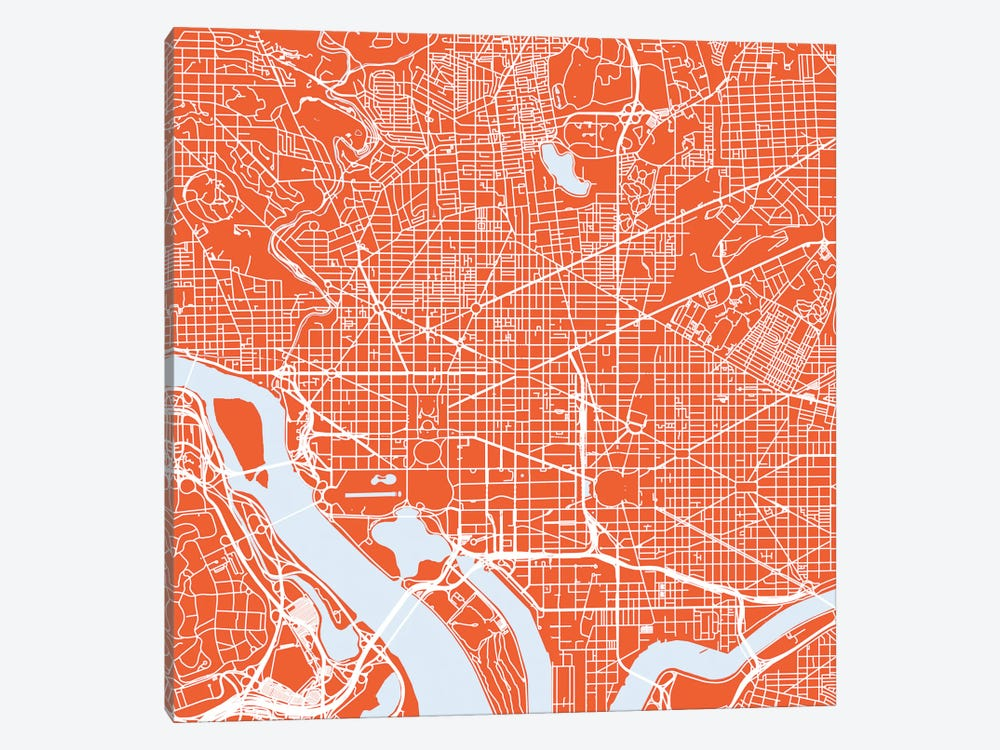 Washington D.C. Urban Roadway Map (Red) by Urbanmap 1-piece Art Print