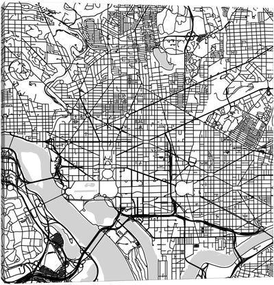 Washington D.C. Urban Roadway Map (White) Canvas Art Print