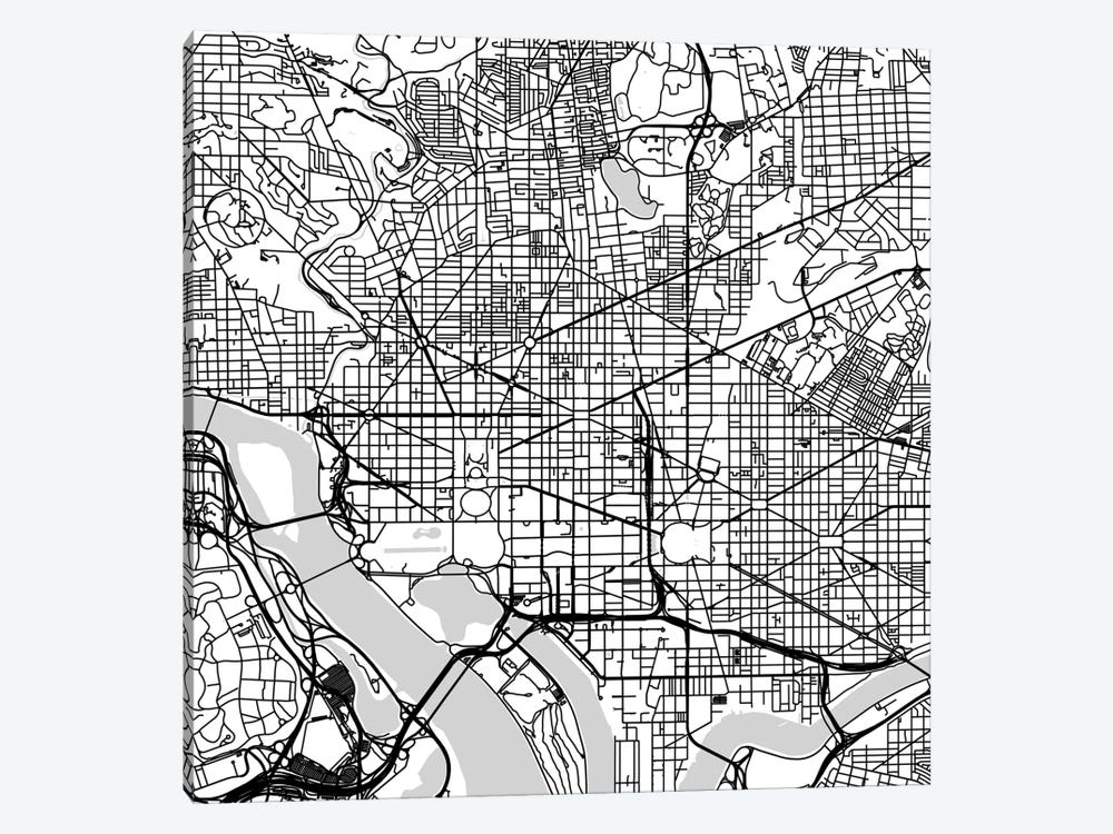 Washington D.C. Urban Roadway Map (White) by Urbanmap 1-piece Canvas Art