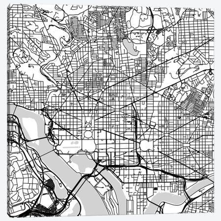 Washington D.C. Urban Roadway Map (White) Canvas Print #ESV437} by Urbanmap Canvas Print