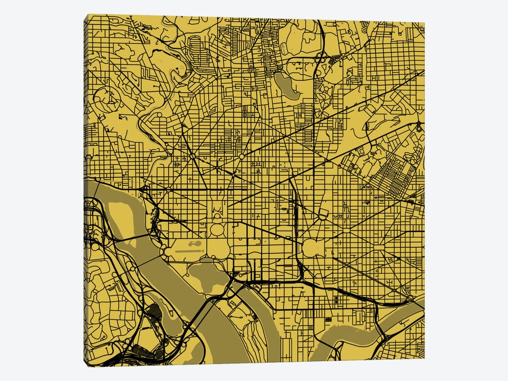 Washington D.C. Urban Roadway Map (Yellow) by Urbanmap 1-piece Canvas Print