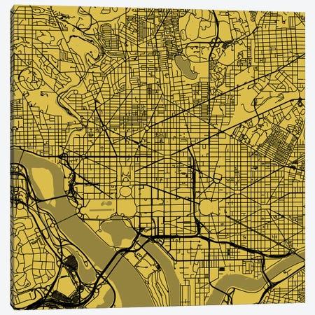 Washington D.C. Urban Roadway Map (Yellow) Canvas Print #ESV438} by Urbanmap Canvas Artwork