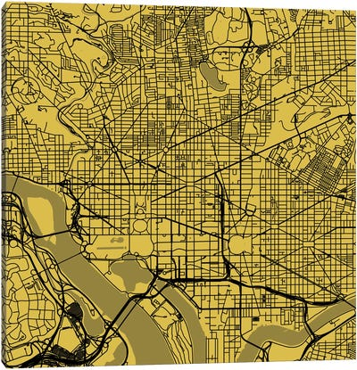Washington D.C. Urban Roadway Map (Yellow) Canvas Art Print