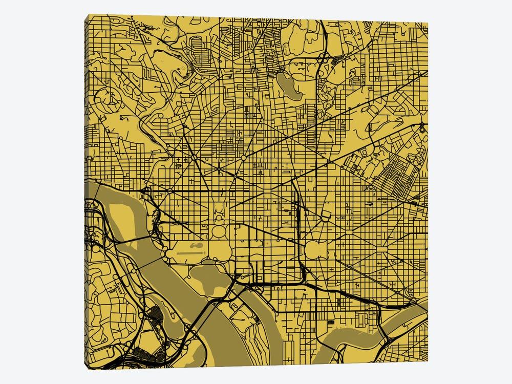 Washington D.C. Urban Roadway Map (Yellow) by Urbanmap 1-piece Canvas Print