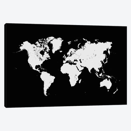 World Urban Map (Black) Canvas Print #ESV439} by Urbanmap Canvas Artwork
