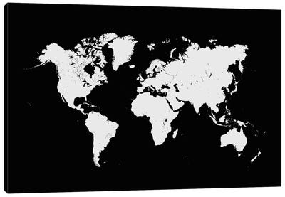 World Urban Map (Black) Canvas Art Print