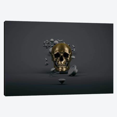 Golden skull Canvas Print #ESV43} by Evgenij Soloviev Canvas Artwork