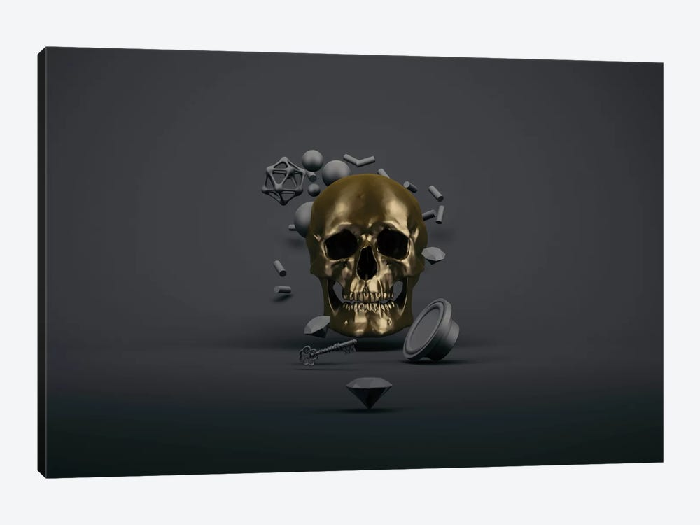 Golden skull by Evgenij Soloviev 1-piece Canvas Artwork
