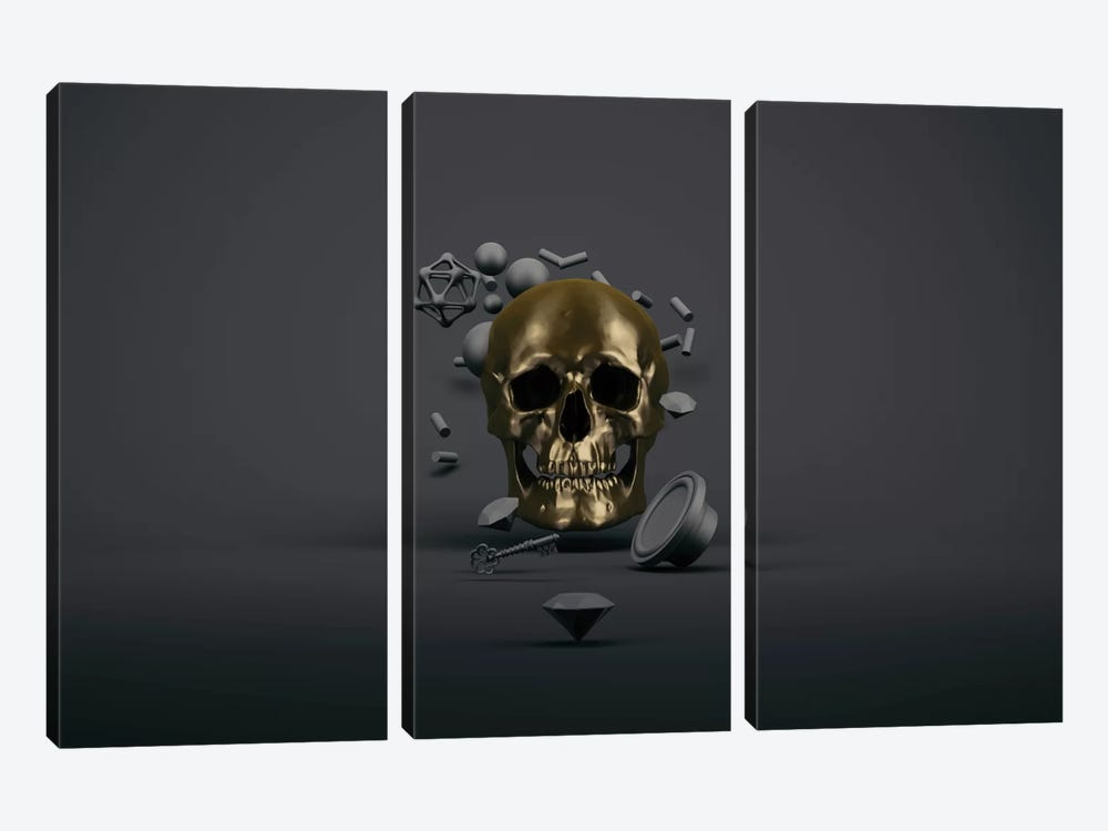 Golden skull by Evgenij Soloviev 3-piece Canvas Artwork