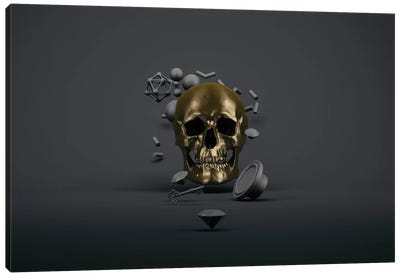 Golden skull Canvas Art Print
