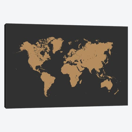 World Urban Map (Gold) Canvas Print #ESV441} by Urbanmap Art Print