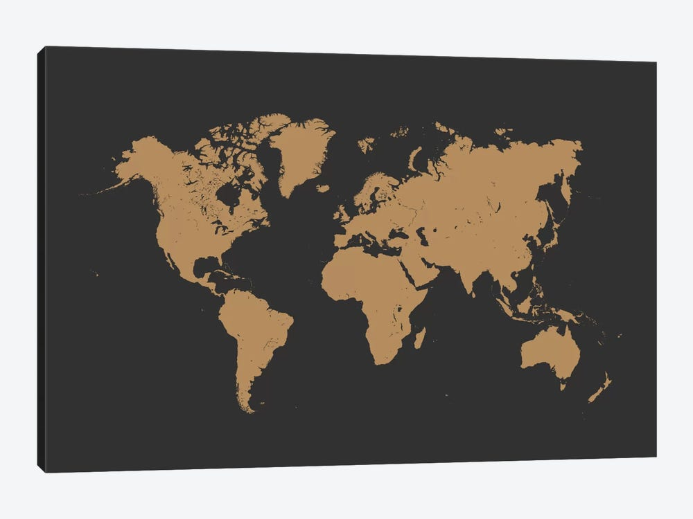World Urban Map (Gold) by Urbanmap 1-piece Canvas Print