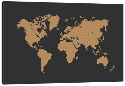 World Urban Map (Gold) Canvas Art Print