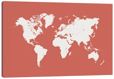 World Urban Map (Pink) Canvas Art Print