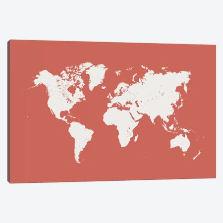 World Urban Map (Pink) Canvas Print #ESV443} by Urbanmap Canvas Print