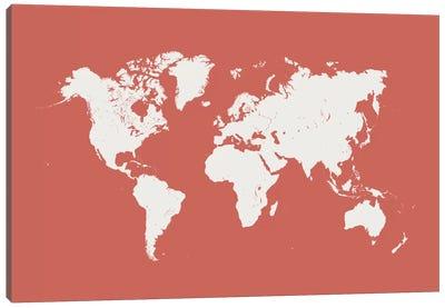 World Urban Map (Pink) Canvas Print #ESV443