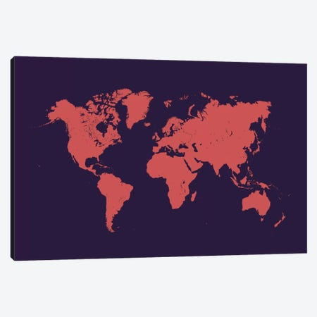 World Urban Map (Purple Night) Canvas Print #ESV444} by Urbanmap Canvas Artwork
