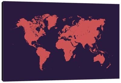World Urban Map (Purple Night) Canvas Print #ESV444