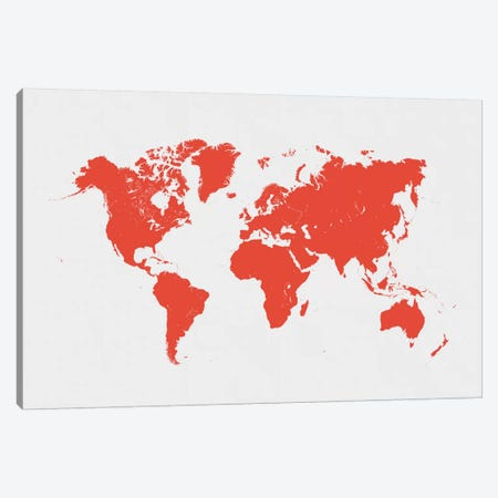 World Urban Map (Red) Canvas Print #ESV445} by Urbanmap Canvas Artwork