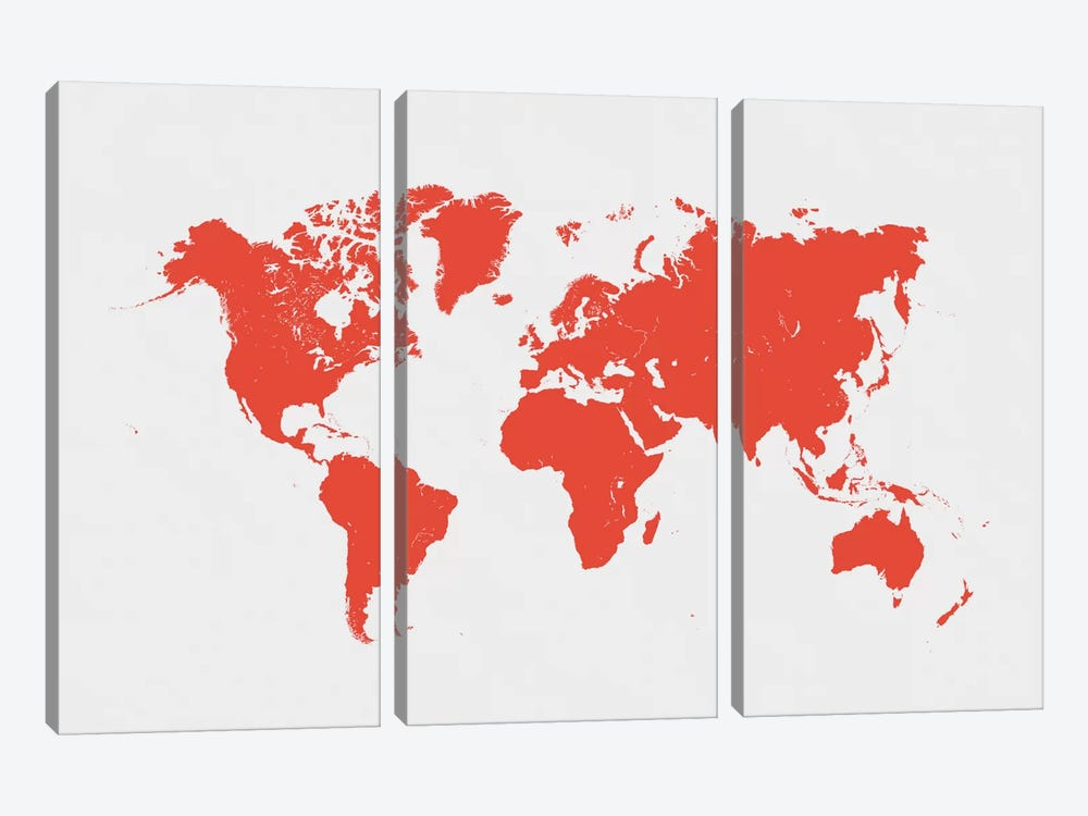 World Urban Map (Red) by Urbanmap 3-piece Canvas Art Print